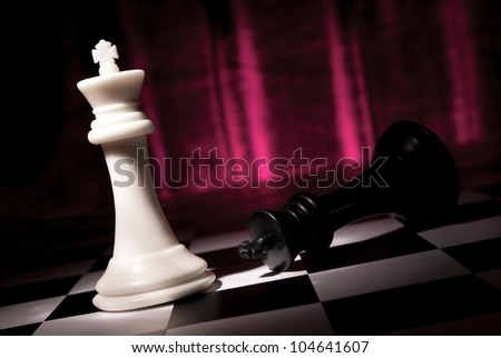 Composition from chessmen on a color background