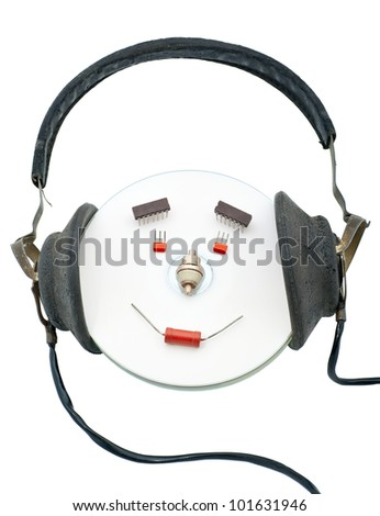 Composition from radio components it is isolated on a white background