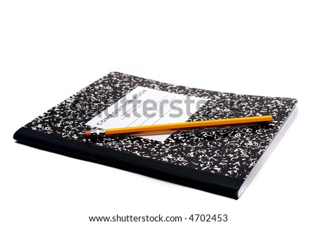 Composition notebook for school with black and white abstract cover and yellow pencil