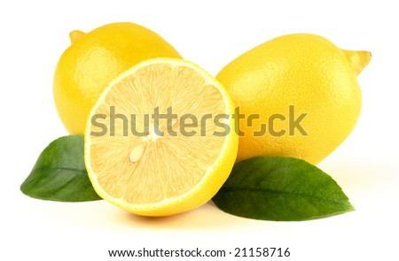 Composition of a few lemons with leaves, isolated over white