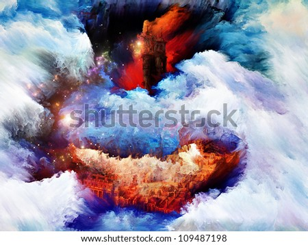 Composition of abstract paint and landscape elements on the subject of dream, imagination and fantasy