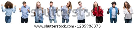 Composition of african american, hispanic and caucasian group of people over isolated white background very happy and excited doing winner gesture with arms raised, smiling and screaming for success #1285986373