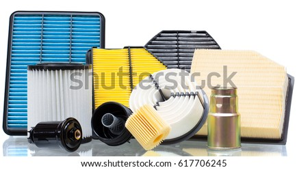 composition of air filters for car engine on a white background #617706245