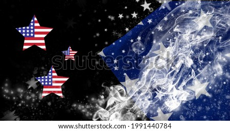Composition of american flag star shapes with white stars and white smoke on blue and black. patriotism, independence and celebration concept digitally generated ima Stock fotó ©