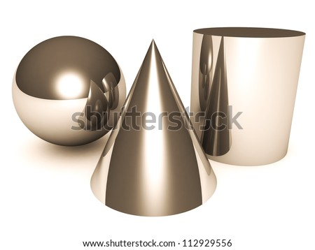 composition of basic 3d geometric shapes isolated on a white background
