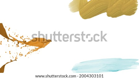 Composition of brown, blue and orange paint splats on white background. school, creativity, education and study background concept digitally generated image.