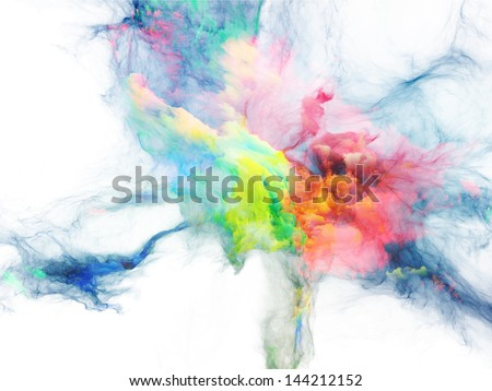 Composition of bursting strands of fractal smoke and paint suitable as a backdrop for the projects on design, science, technology and creativity