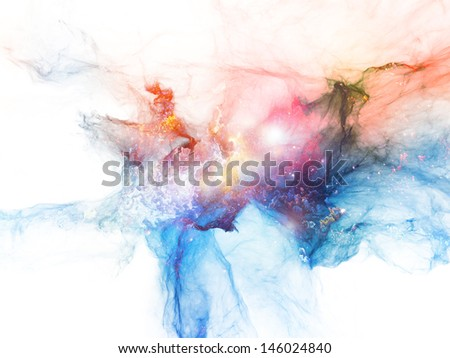 Composition of bursting strands of fractal smoke and paint with metaphorical relationship to design, science, technology and creativity