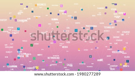 Composition of business text and icons on yellow to pink background. global business, connections and technology concept digitally generated image.