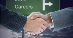 Composition of businessmen shaking hands over careers roadsign with in background. global business, finances and networking concept digitally generated image.
