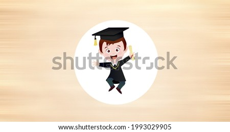 Composition of cartoon schoolboy in white circle on cream background. school, education and study concept digitally generated image.