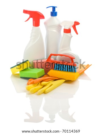 composition of cleaning articles - stock photo
