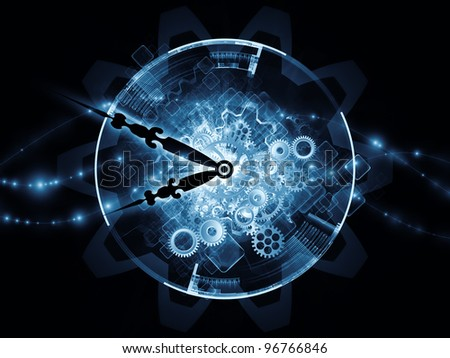 Composition of clock hands and technological elements  as a concept metaphor for time sensitive technological process