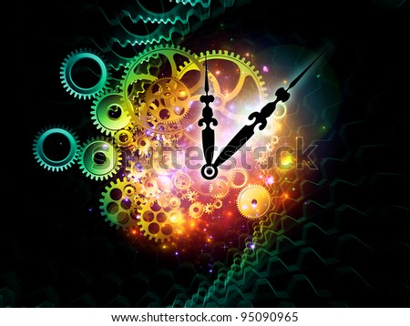 Composition of clock hands, gears and abstract design elements as a concept metaphor on subject of time, technological, engineering and industrial processes, deadlines, past, present and future