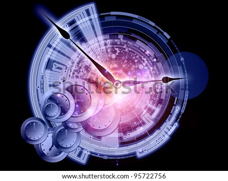 Composition of clock hands, gears and abstract design elements as a concept metaphor on subject of time, technological, engineering and industrial processes, deadlines, past, present and future - stock photo
