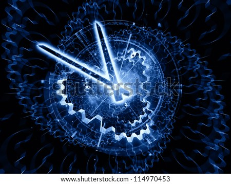 Composition of clock hands, gears, lights and abstract design elements on the subject of time sensitive issues, deadlines, scheduling, temporal processes, past, present and future