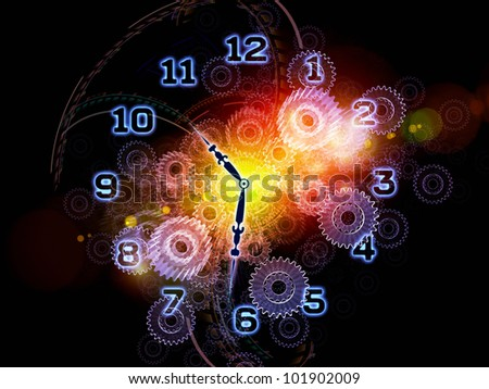 Composition of clock hands, gears, lights and abstract design elements with metaphorical relationship to time sensitive issues, deadlines, scheduling, temporal processes, past, present and future