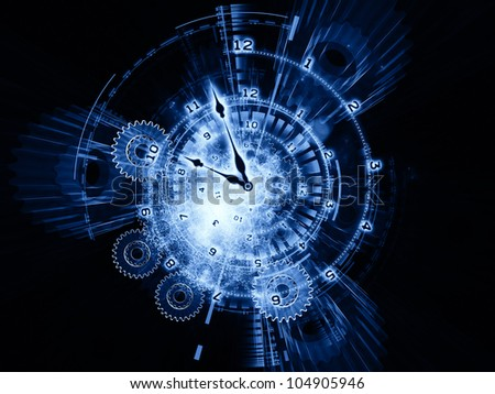 Composition of clock hands, gears, lights and numbers as a concept metaphor on subject of time sensitive issues, deadlines, scheduling, computational processes, past, present and future