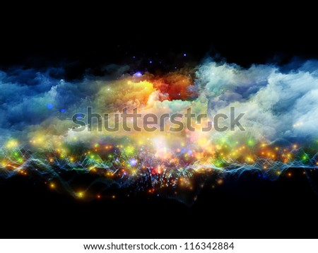 Composition of clouds of fractal foam and abstract lights suitable as a backdrop for the projects on art, spirituality, painting, music , visual effects and creative technologies