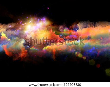 Composition of clouds of fractal foam and abstract lights with metaphorical relationship to art, spirituality, painting, music , visual effects and creative technologies