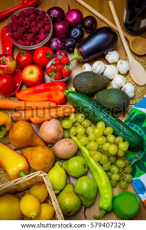 Composition of colorful fruits and vegetables, rainbow color palette, colorful eating concept #579407329