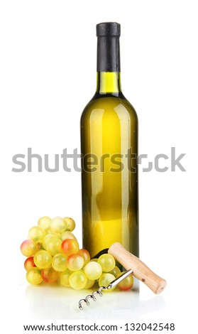 Composition of corkscrew and bottle of wine, grape, isolated on white