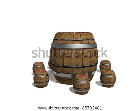 Composition of 3d wooden barrels on white background