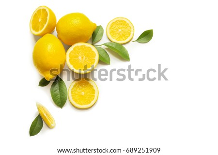 Composition of delicious citrus fruit and green leaves on white background #689251909