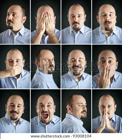 Composition of different expressions of the same man on dark background. #93008104