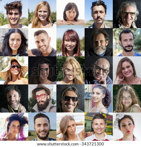 composition of diverse people smiling #343721300