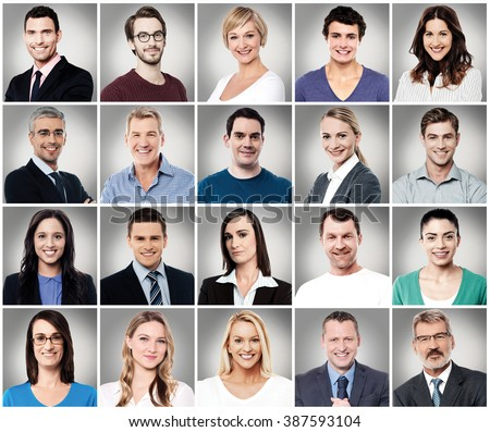 Composition of diverse people smiling #387593104