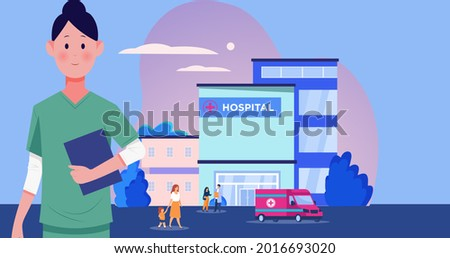 Composition of doctor and hospital icons on blue background. flu, sickness, virus and vaccination concept digitally generated image.