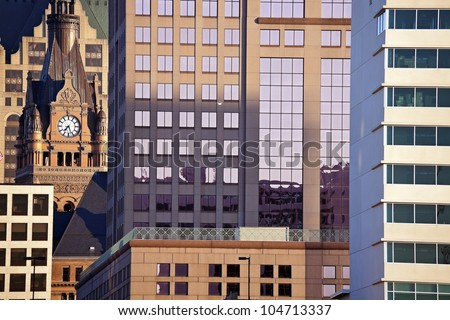 Composition of downtown Milwaukee buildings. City Hall on the left.
