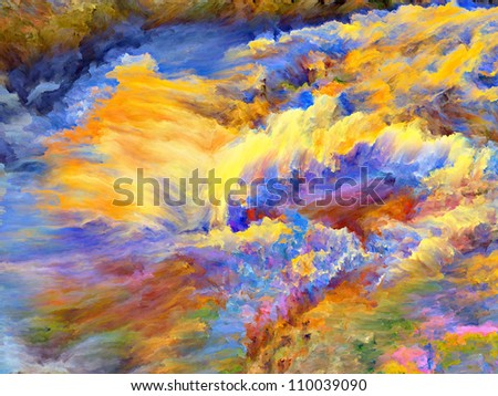 Composition of dreamy forms and colors on the subject of dream, imagination, fantasy and abstract art