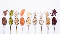 composition of dry legumes of different types, colors and flavors