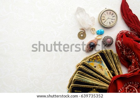 Composition of esoteric objects, used for healing and fortune-telling #639735352