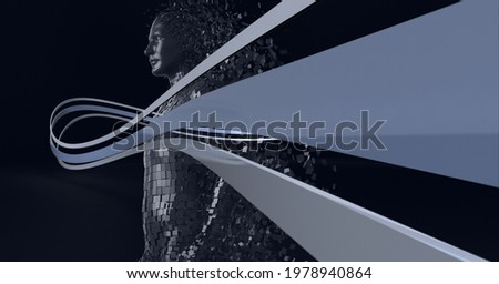 Composition of exploding human body and grey trails of information. global technology, connections and networking concept digitally generated image.