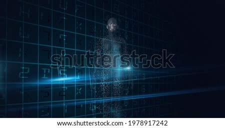 Composition of exploding human body formed with grey particles and data processing in background. global online identity and security concept digitally generated image.