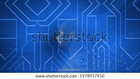 Composition of exploding human bust formed with binary coding and blue circuit board background. global online identity and security concept digitally generated image.