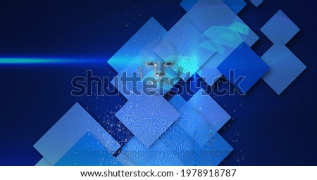 Composition of exploding human bust formed with binary coding and blue screens background. global online identity and security concept digitally generated image.