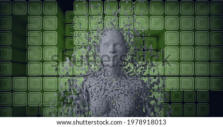Composition of exploding human bust formed with grey particles and green cubes background. global online identity and security concept digitally generated image.