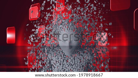 Composition of exploding human bust formed with grey particles and red screens. global online identity and security concept digitally generated image.
