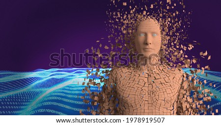 Composition of exploding human bust formed with orange particles and binary coding. global science, technology and data processing concept digitally generated image.