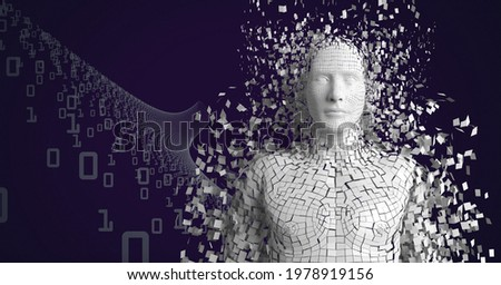Composition of exploding human bust formed with white particles and binary coding. global science, technology and data processing concept digitally generated image.