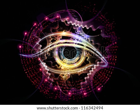 Composition of eye outlines, fractal and abstract design elements suitable as a backdrop for the projects on modern technologies, artificial intelligence, virtual reality and digital imaging