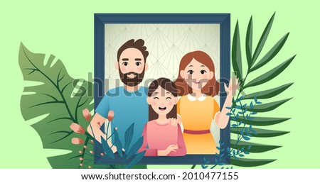 Composition of family looking through window on green background. happy family, love and support concept digitally generated image.