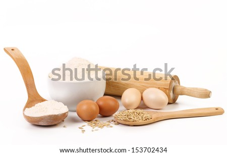 Composition of flour and eggs.