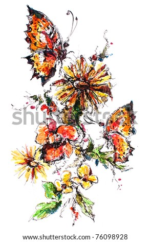 Composition of flowers and butterflies, watercolor aquarelle isolated on white.