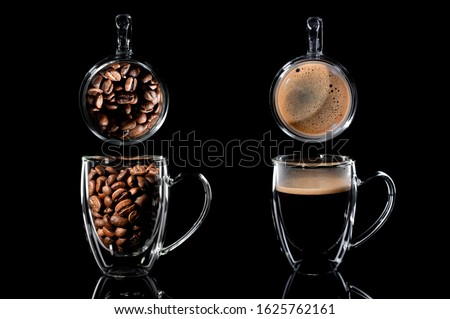 composition of four cups with coffee on a black background. on the left is a side view of a cup with coffee bean, a top view above it, a side view of a cup with ready-made coffee, a side view above