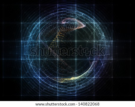Composition of fractal grids and light particles on the subject of futuristic design, science, technology